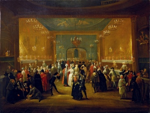 Handel - Masquerade_at_the_King's_Theatre_Haymarket_c1724